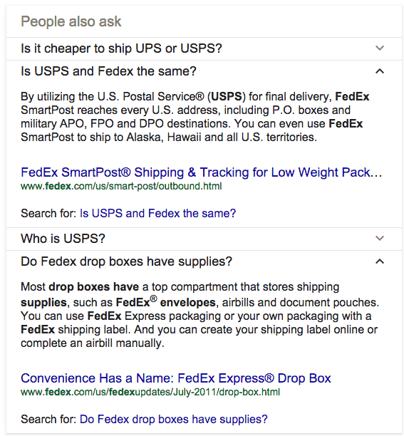 People Also Ask FedEx